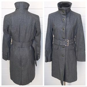 Kenneth Cole Belted Wool Trench Coat Gray